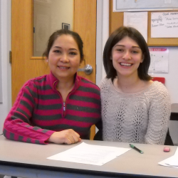 While completing an ELO at Sanford Community Adult Education this student has had the chance to work with other students who  participate in the English as a Second Language Program.