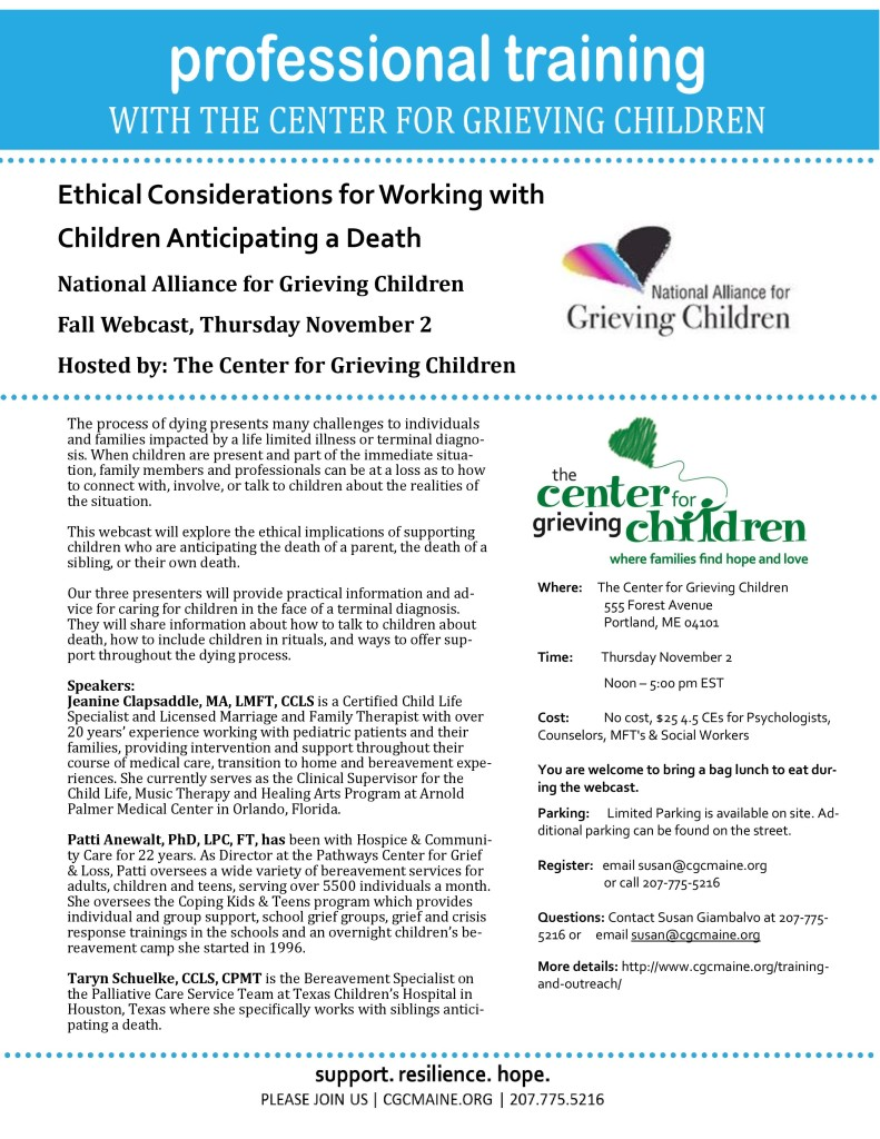 Professional Training with the Center for Grieving Children @ Center for Grieving Children | Portland | Maine | United States