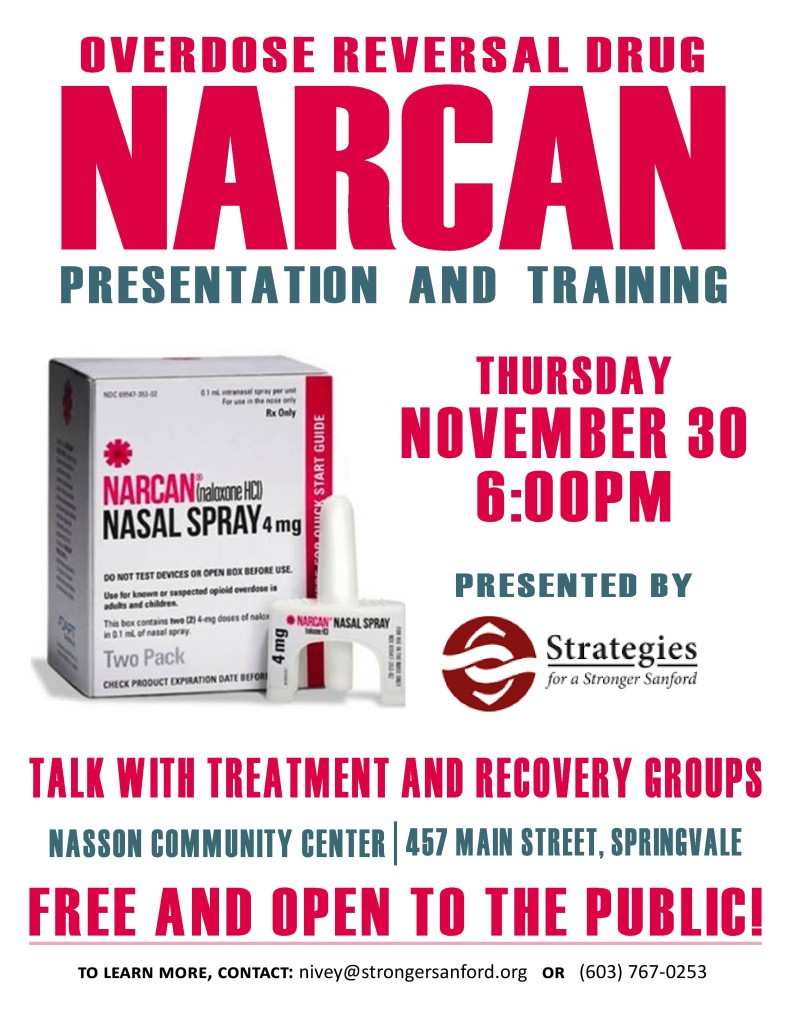Narcan Training @ Nasson Community Center's Little Theatre | Sanford | Maine | United States