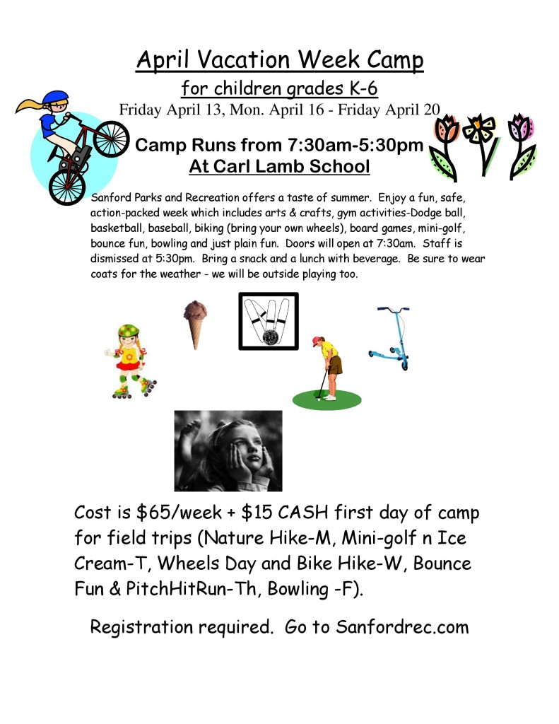 April Vacation Week Camp K-6 Grades @ Carl Lamb School