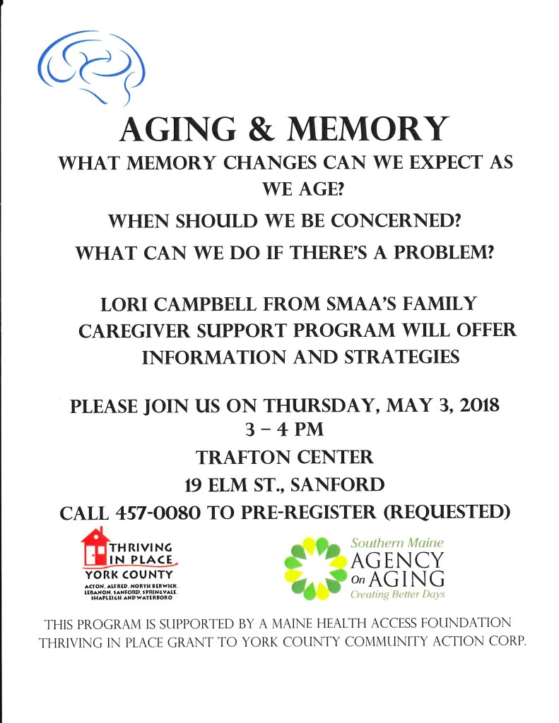 Aging & Memory @ YMCA Trafton Center | Sanford | Maine | United States