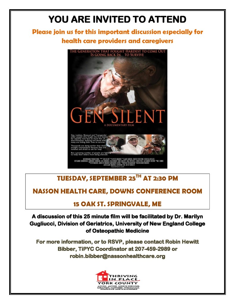 Gen Silent a Documentary Film @ Nasson Health Care, Downs Conference  Rm | Sanford | Maine | United States