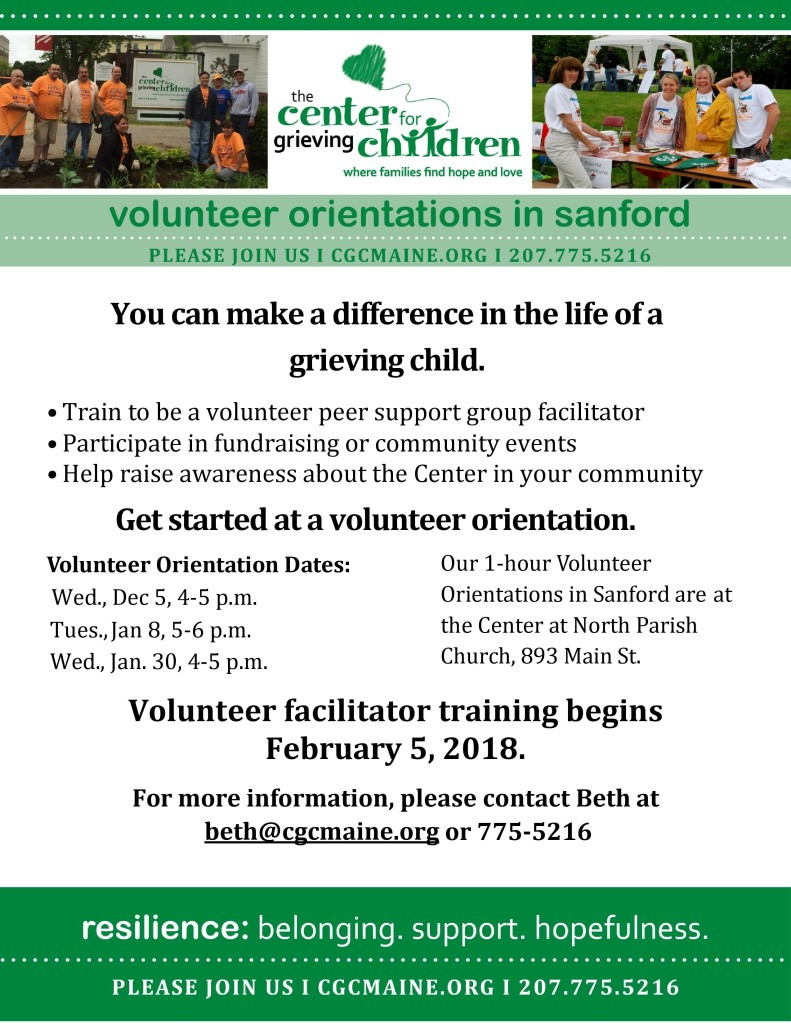 Sanford Volunteer Orientation! Center for Grieving Children @ Center for Grieving Children