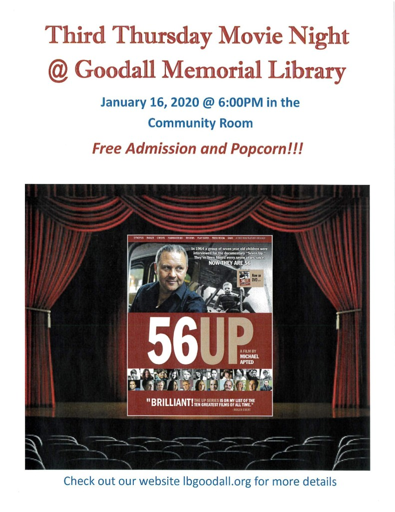 Third Thursday Movie Night at Goodall Library! @ Goodall Library